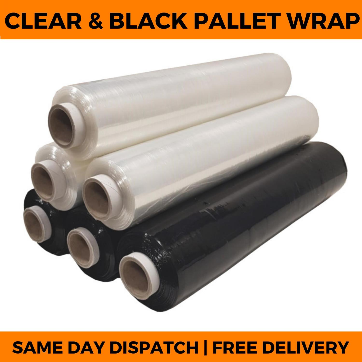 FREE p/&p INDESTRIAL STRONG 1 x EXTENDED CORE BLACK PALLET STRETCH WRAP