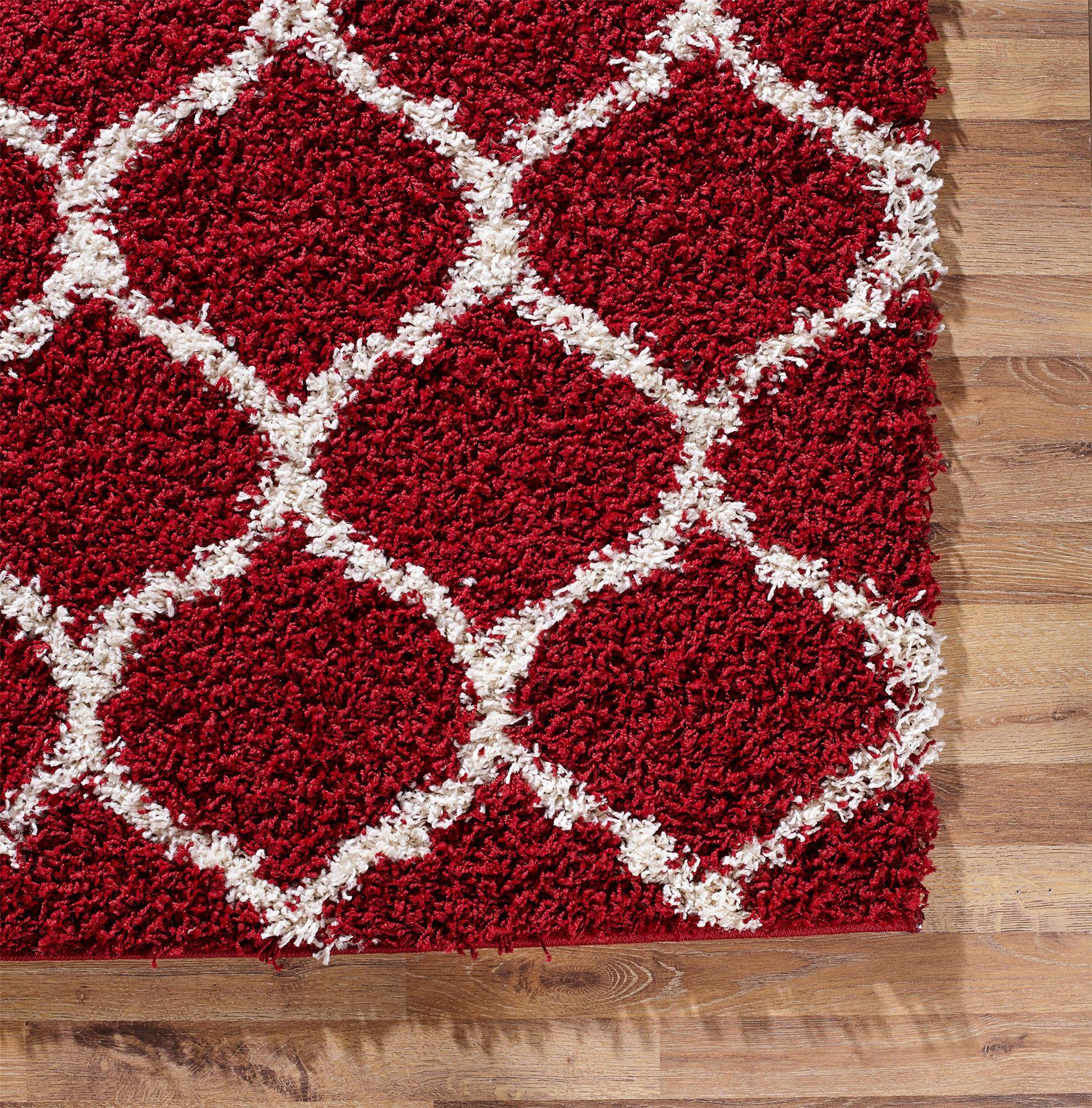 Large Modern Red Trellis Shaggy Carpet Contemporary Soft