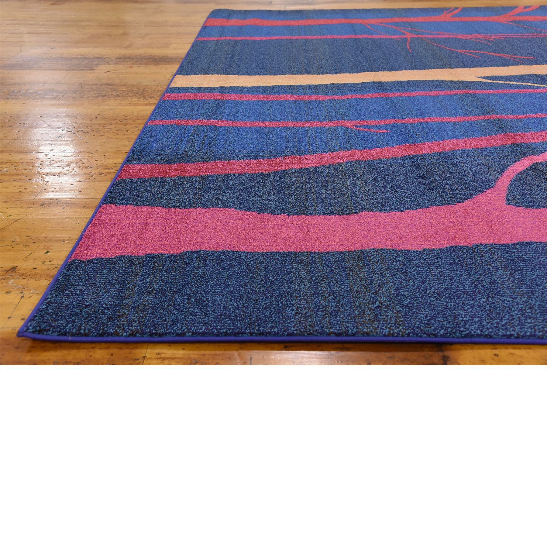 Modern Looking Rug: Modern Blue Pictorial Design Area Rug Contemporary Style