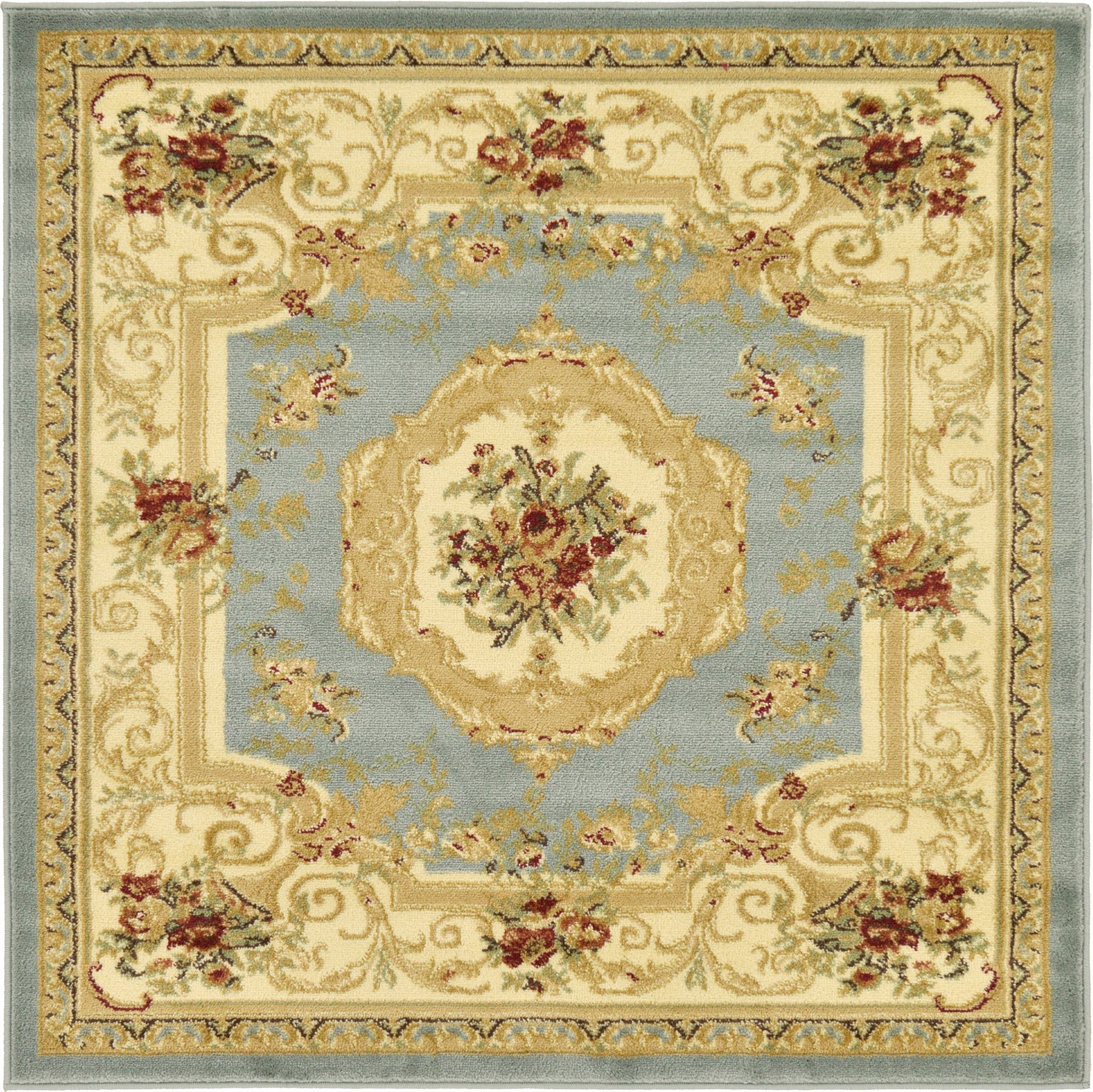 Oriental Traditional Rugs Area Carpet 4 X 4 Light Blue