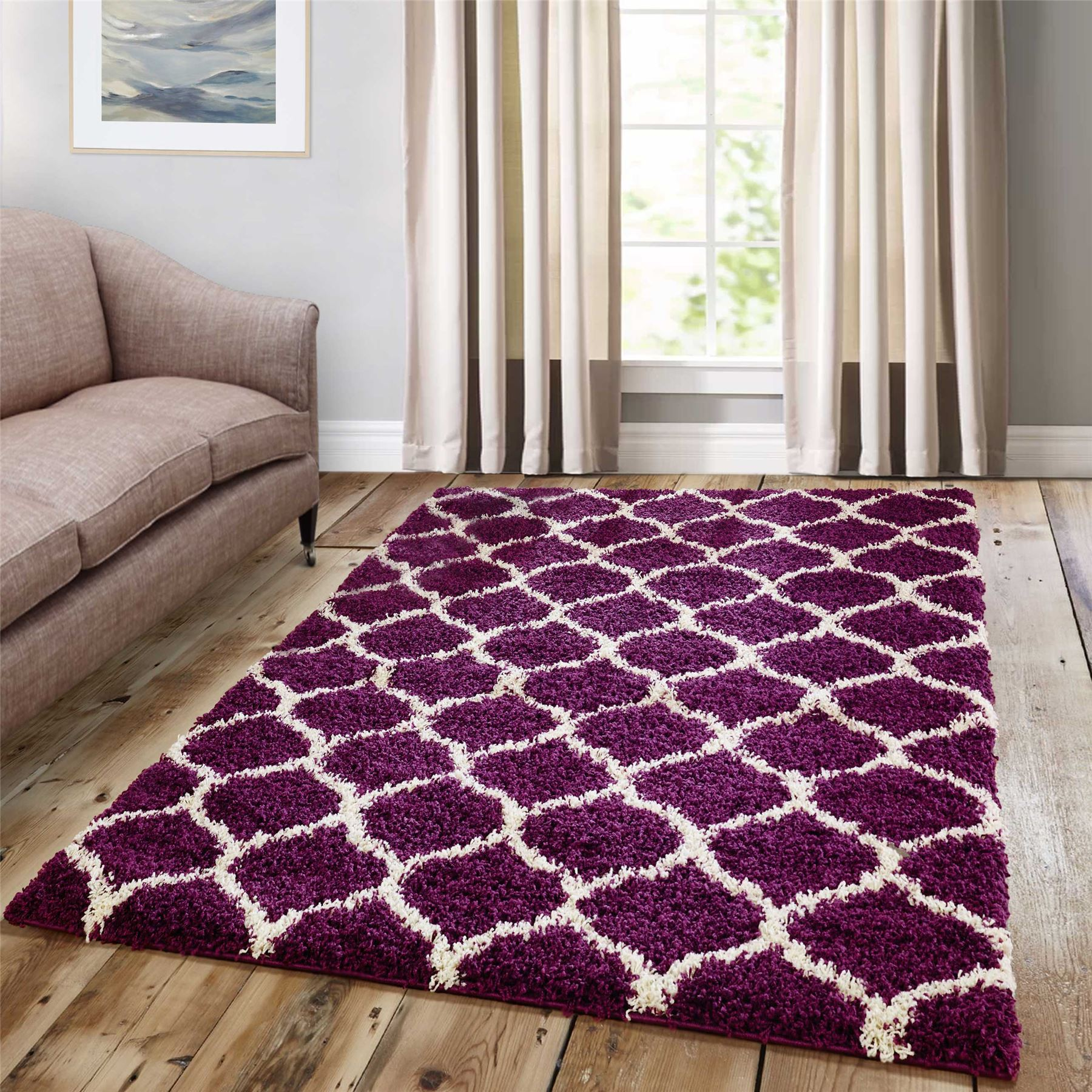 Dense-Pile-Trellis-Bedroom-Carpets-Thick-Shaggy-Rugs-Modern-Coloured-Pattern-Mat thumbnail 17