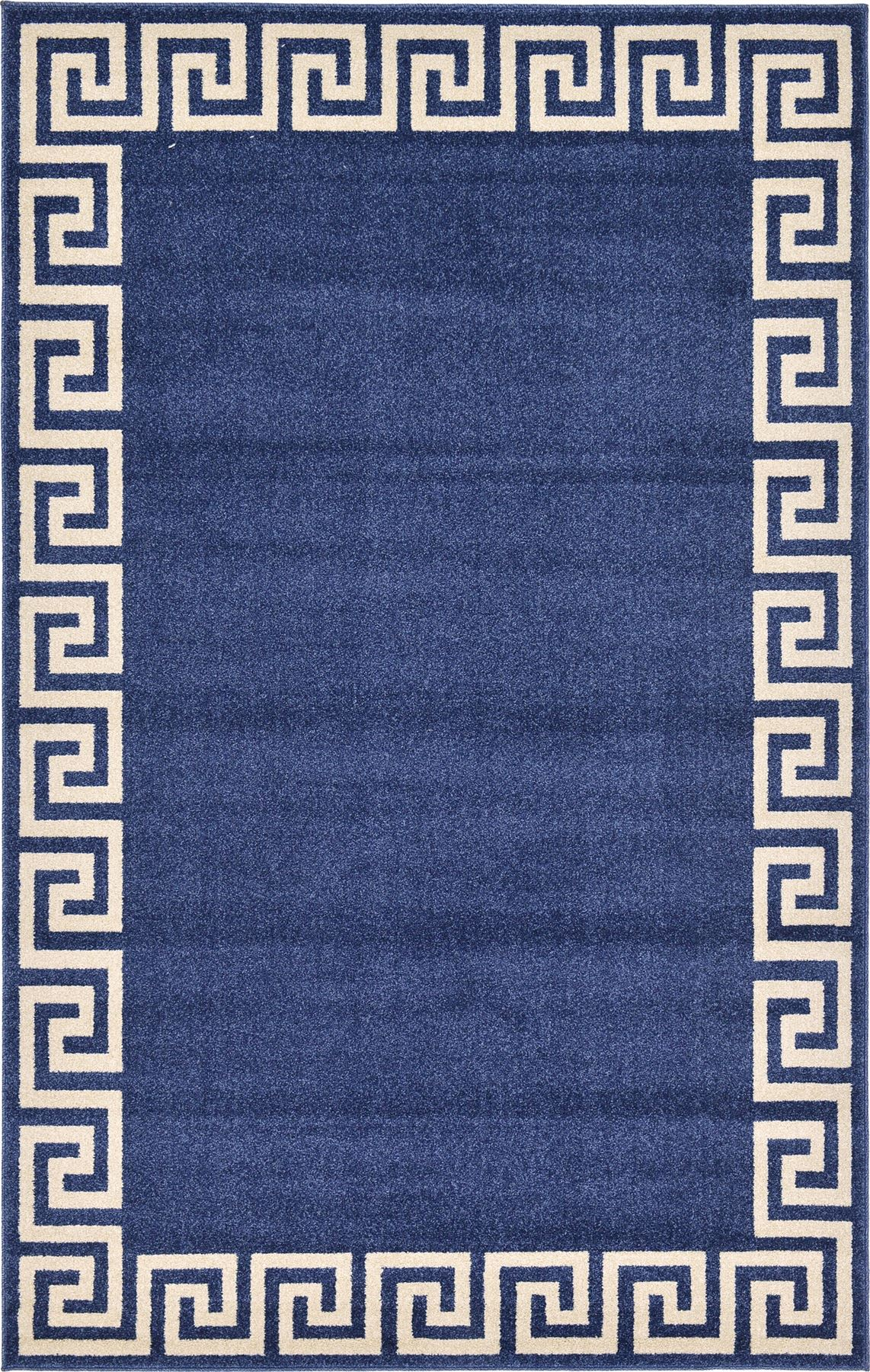 Modern Greek Design Border Area Rug Contemporary Large