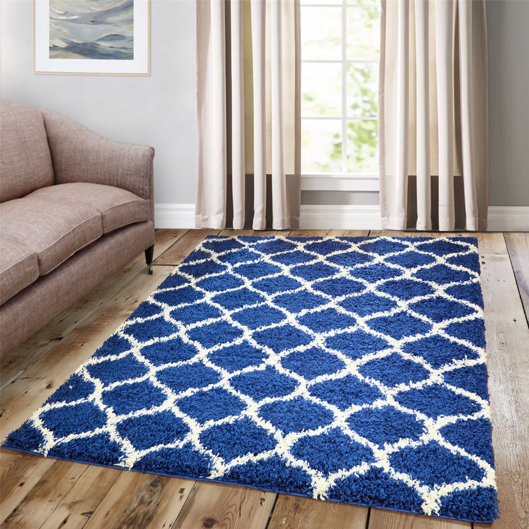 Dense-Pile-Trellis-Bedroom-Carpets-Thick-Shaggy-Rugs-Modern-Coloured-Pattern-Mat thumbnail 5
