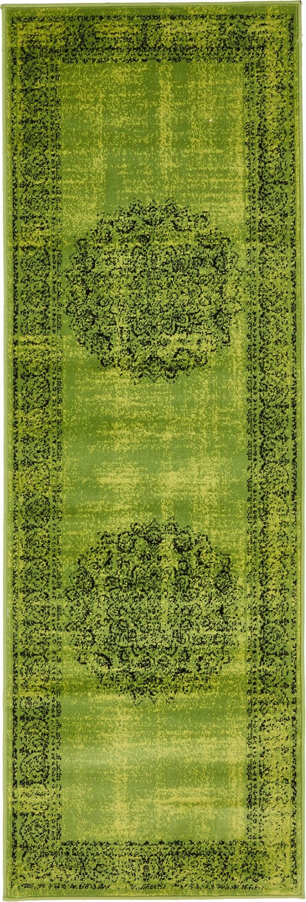 Transitional Green Faded Large Rug Modern Small