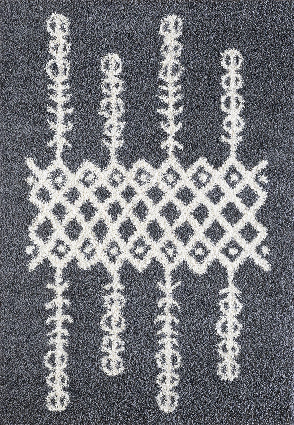 Tappeto-A2Z-Nero-Grigio-Avorio-tradizionale-marocchina-Shaggy-Berber-Boho-Tribal-3cm-Pile miniatura 12