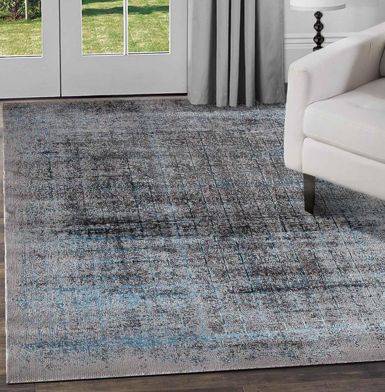 Nero-Grigio-beige-avorio-moderno-tappeti-VINTAGE-ASTRATTO-OMBRA-Lounge-Pavimento-Tappeti miniatura 44