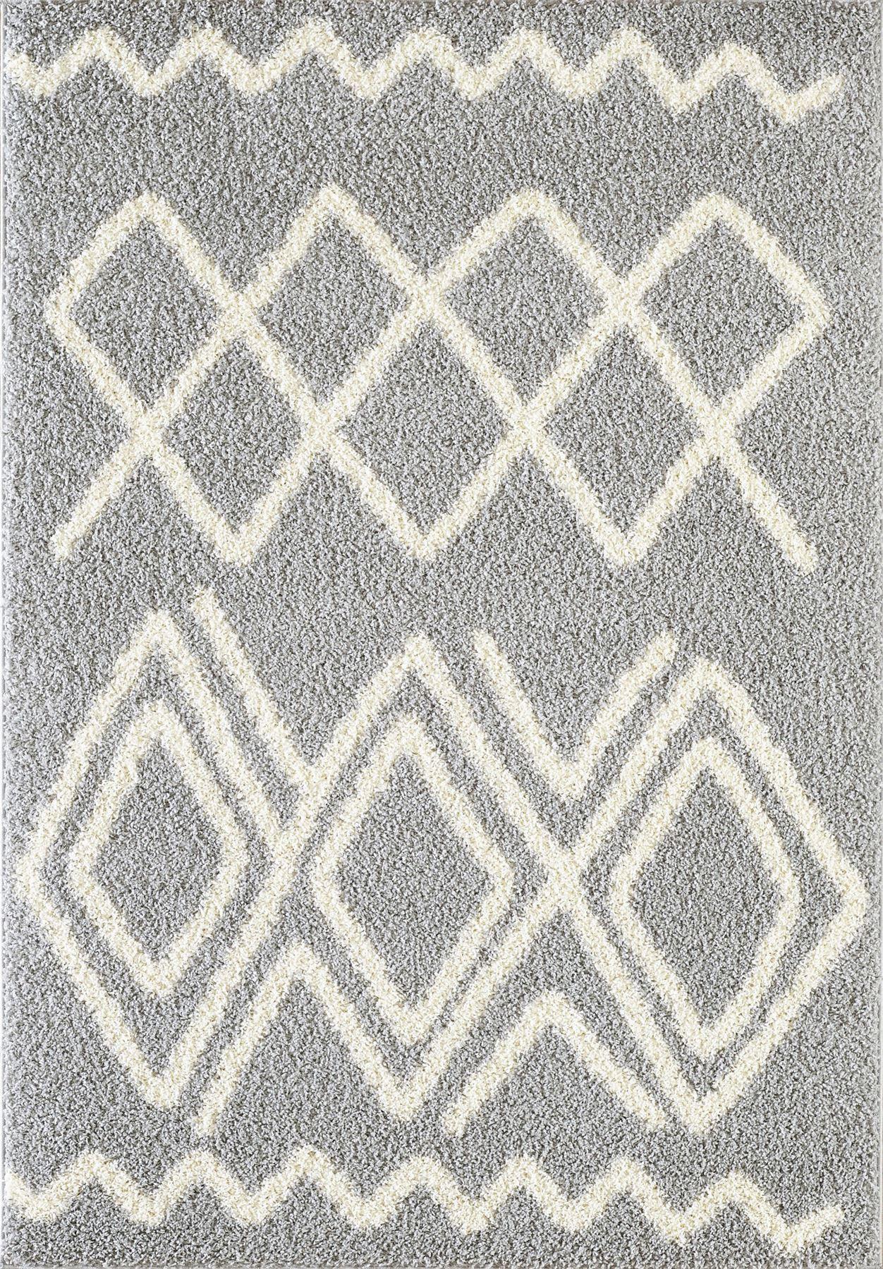 Tappeto-A2Z-Nero-Grigio-Avorio-tradizionale-marocchina-Shaggy-Berber-Boho-Tribal-3cm-Pile miniatura 51