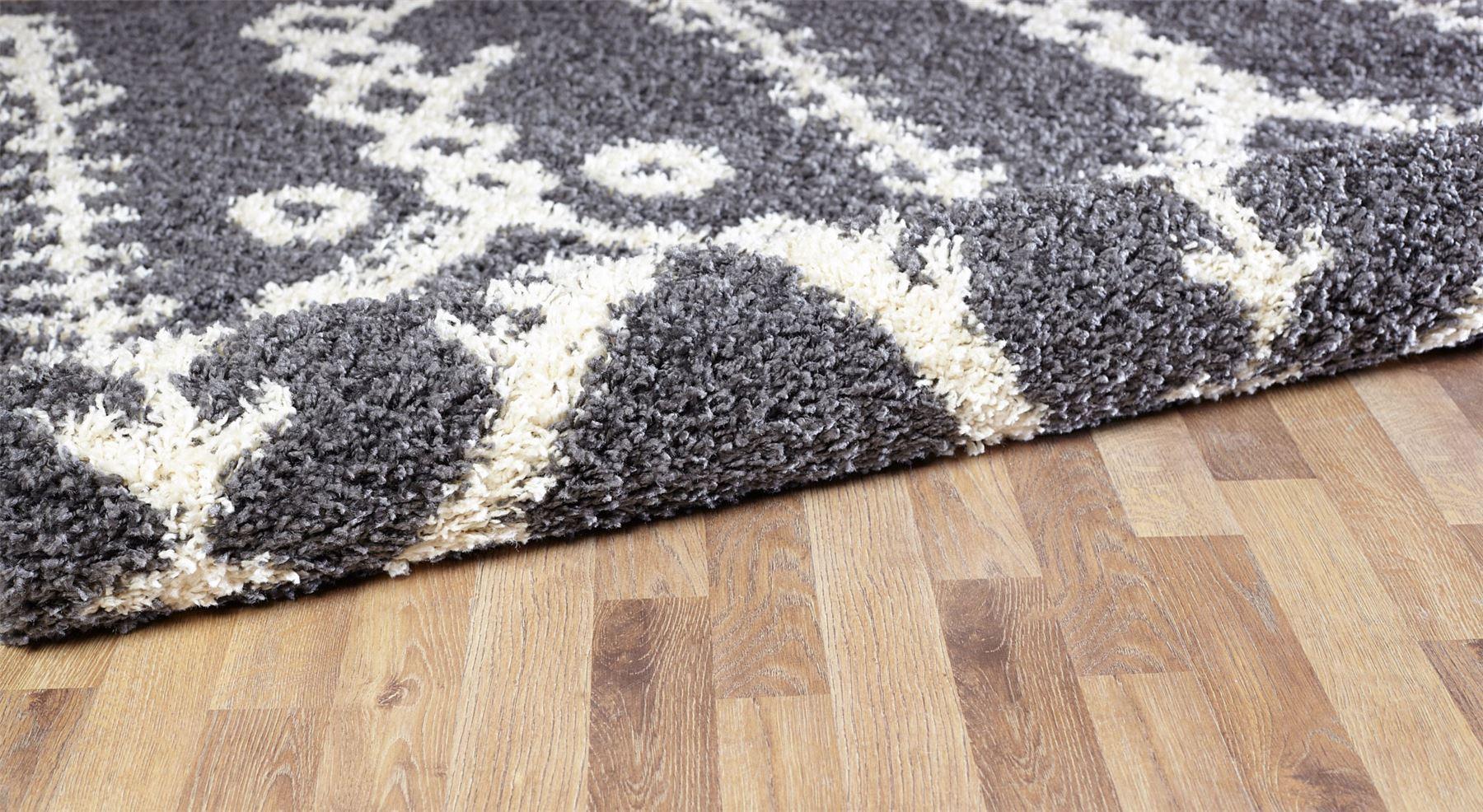 Moroccan-Shaggy-Area-Rug-Grey-White-Black-Soft-Carpet-Traditional-Berber-Designs thumbnail 12