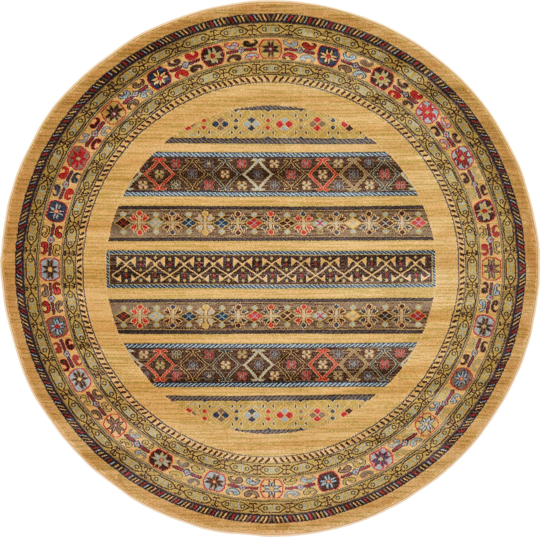 Oriental modern area rug soft round carpet tribal for Round area rugs contemporary