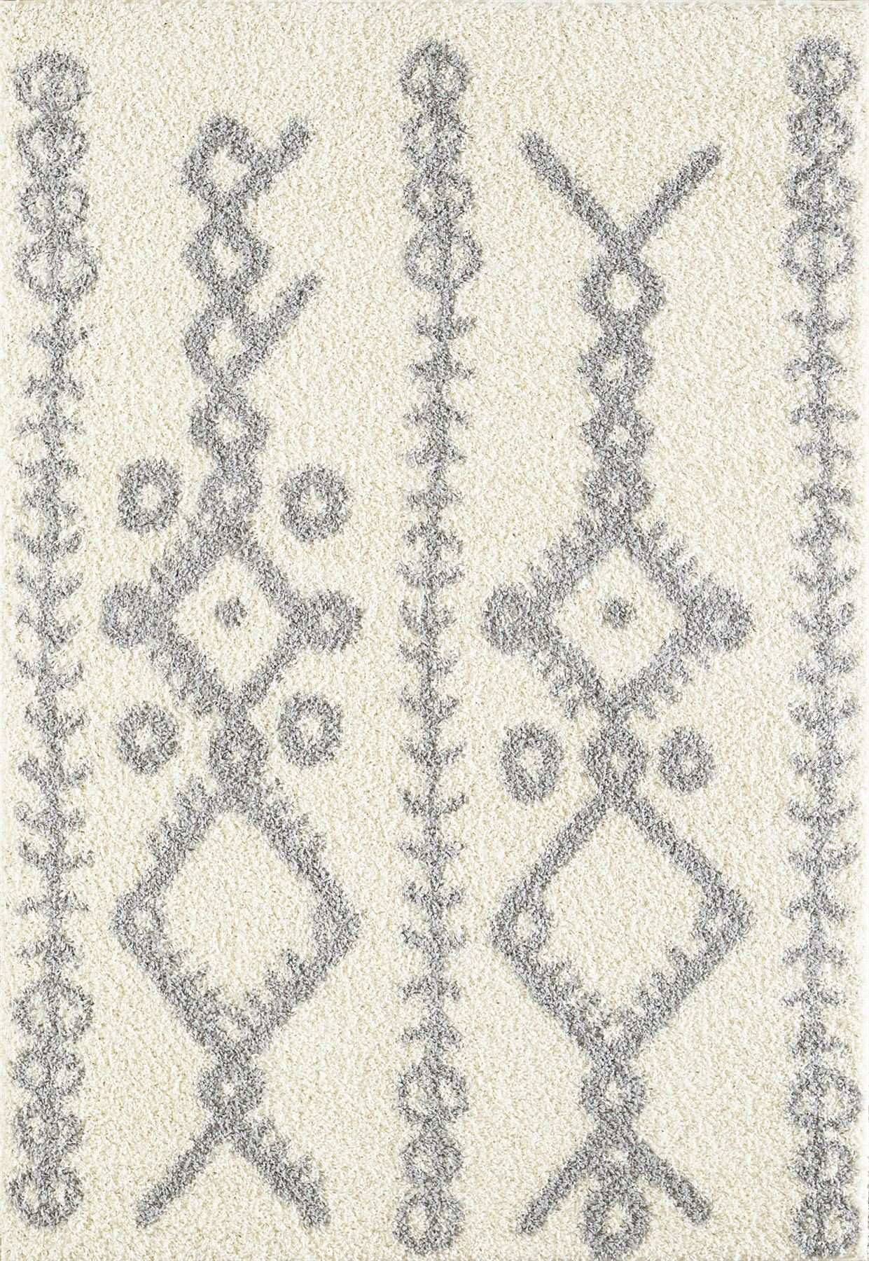 Tappeto-A2Z-Nero-Grigio-Avorio-tradizionale-marocchina-Shaggy-Berber-Boho-Tribal-3cm-Pile miniatura 18