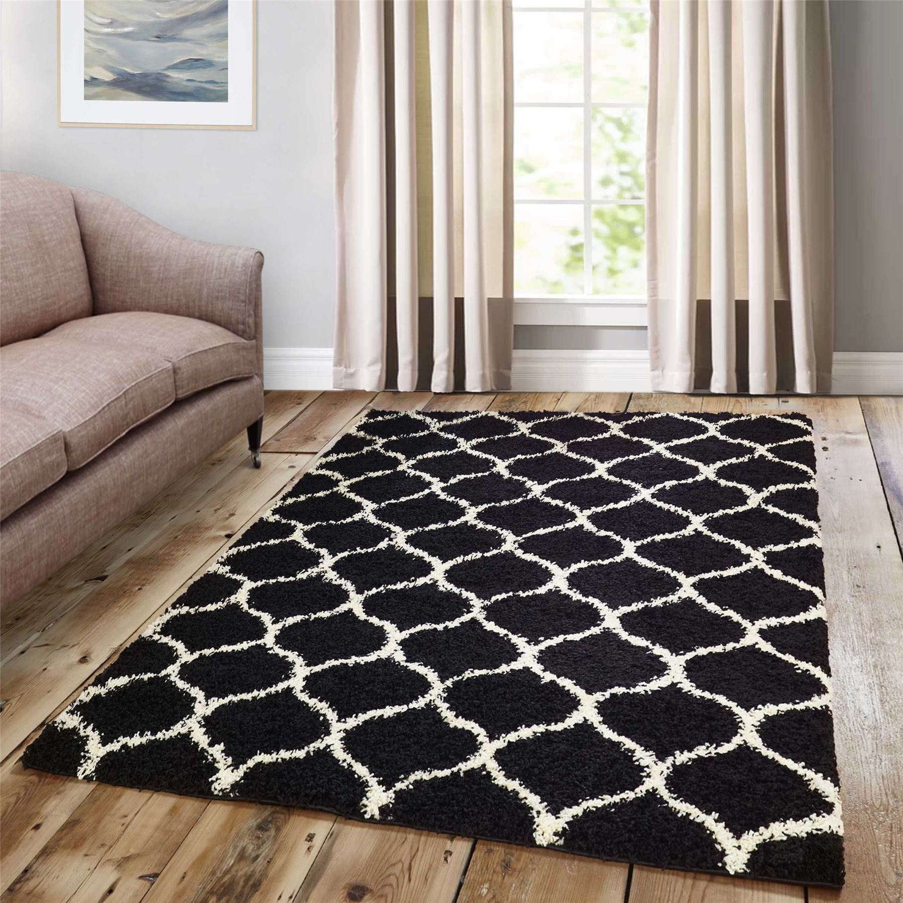 Dense-Pile-Trellis-Bedroom-Carpets-Thick-Shaggy-Rugs-Modern-Coloured-Pattern-Mat thumbnail 2