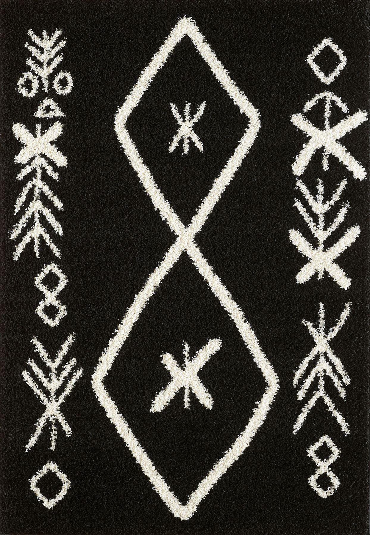 Tappeto-A2Z-Nero-Grigio-Avorio-tradizionale-marocchina-Shaggy-Berber-Boho-Tribal-3cm-Pile miniatura 48