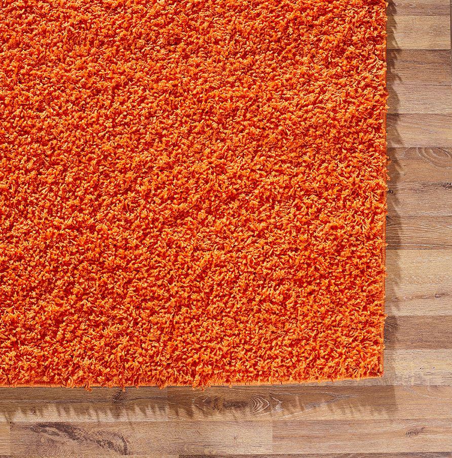 Orange Area Rug Shaggy Warm Soft Carpet Fluffy Modern