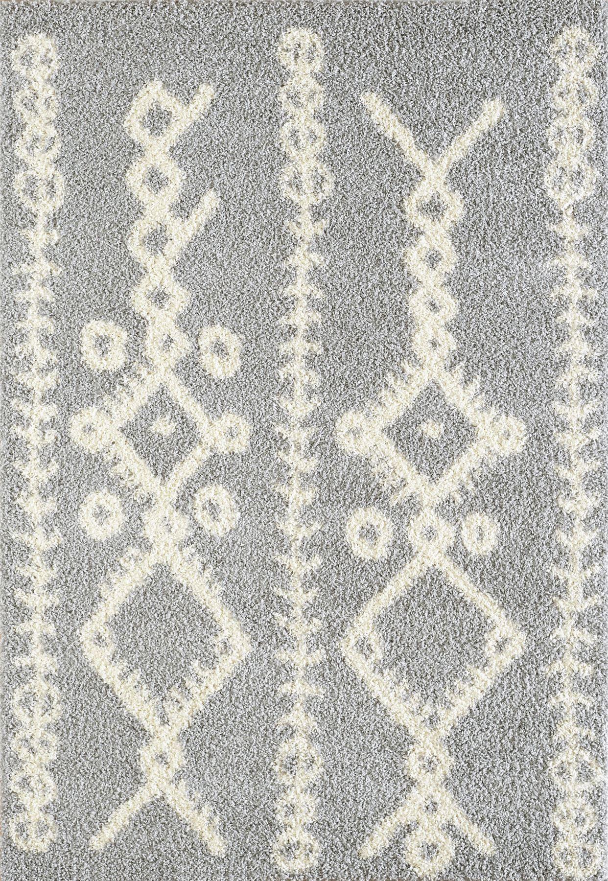 Tappeto-A2Z-Nero-Grigio-Avorio-tradizionale-marocchina-Shaggy-Berber-Boho-Tribal-3cm-Pile miniatura 20