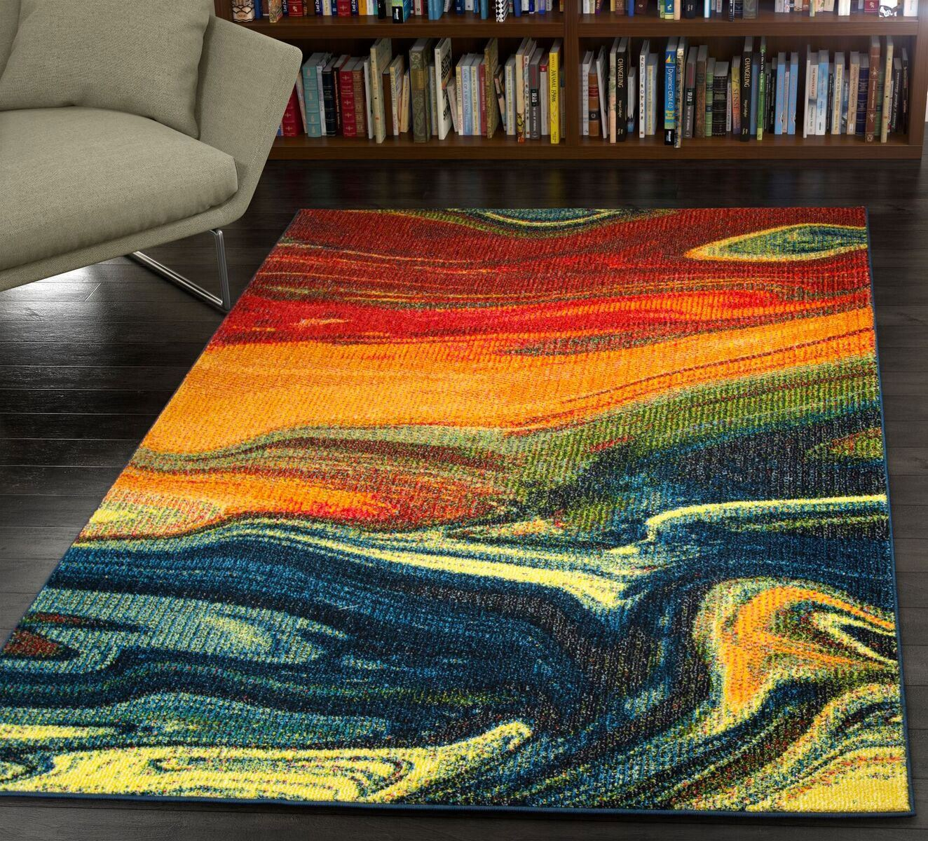 Modern Design Rio Multi Area Rug Contemporary Style Colorful Rainbow ...