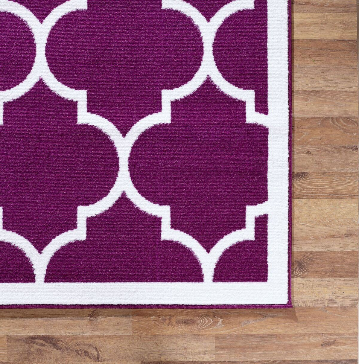 Large modern geometric moroccan trellis thin carpet purple for Purple area rugs contemporary
