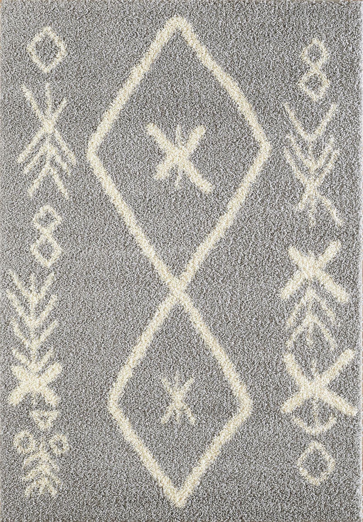 Tappeto-A2Z-Nero-Grigio-Avorio-tradizionale-marocchina-Shaggy-Berber-Boho-Tribal-3cm-Pile miniatura 42
