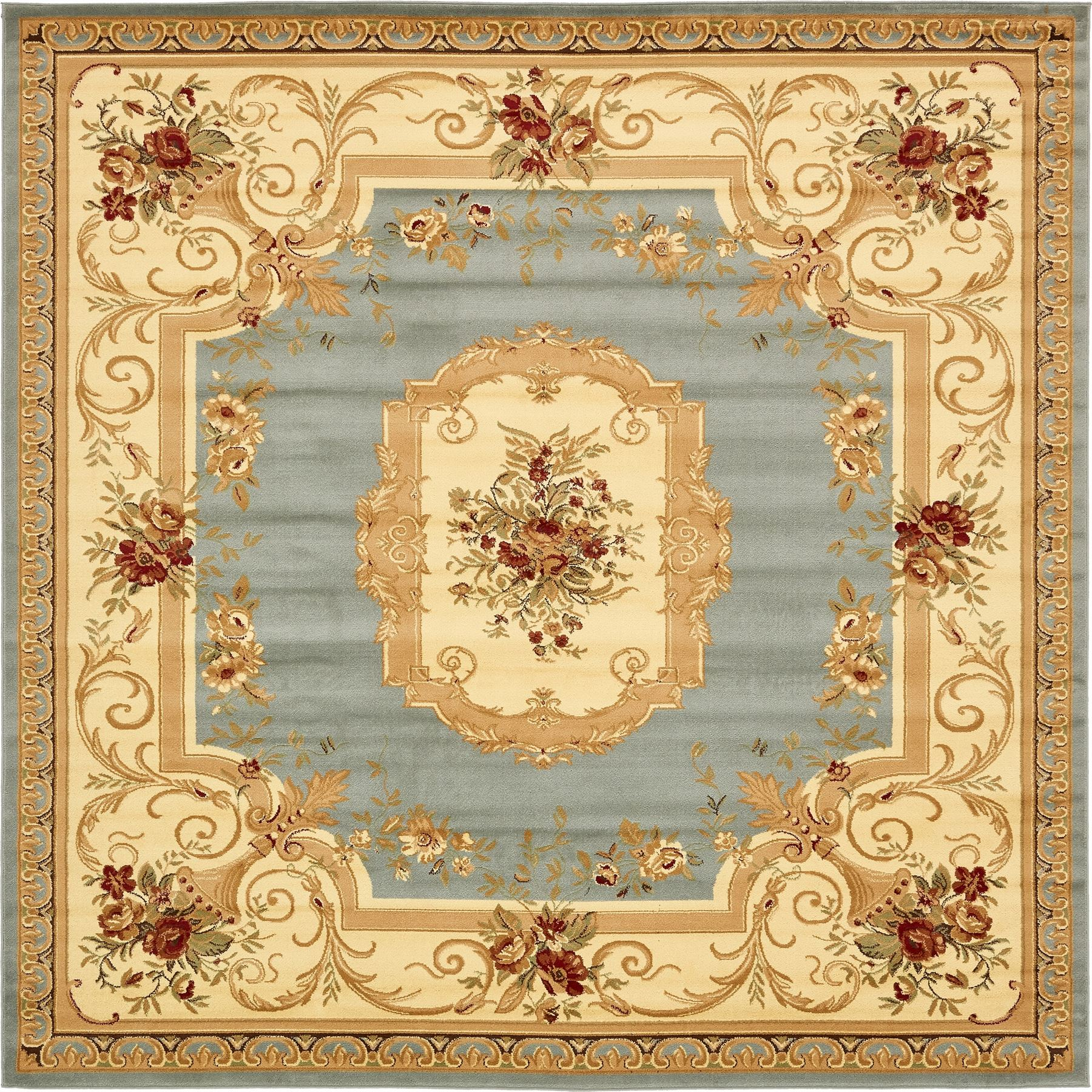 Oriental-Large-Area-Rug-Square-Traditional-Country-Round-Carpet-Medallion-Small thumbnail 40