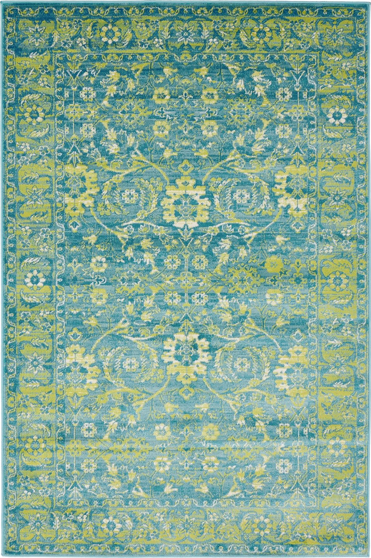 Transitional Blue Faded Large Rug Modern Small Traditional