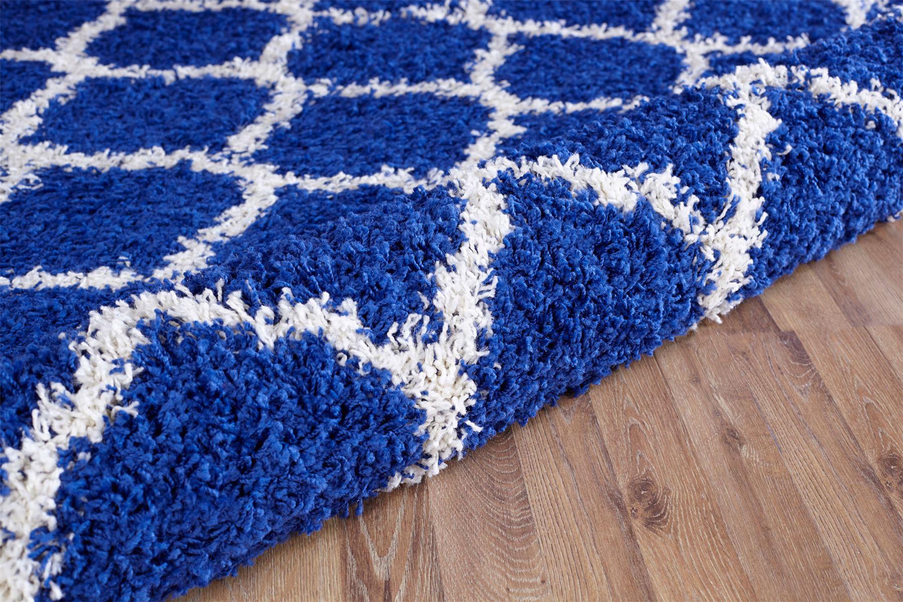 Modern Royal Blue Trellis Shaggy Carpet Contemporary Moroccan Area ...