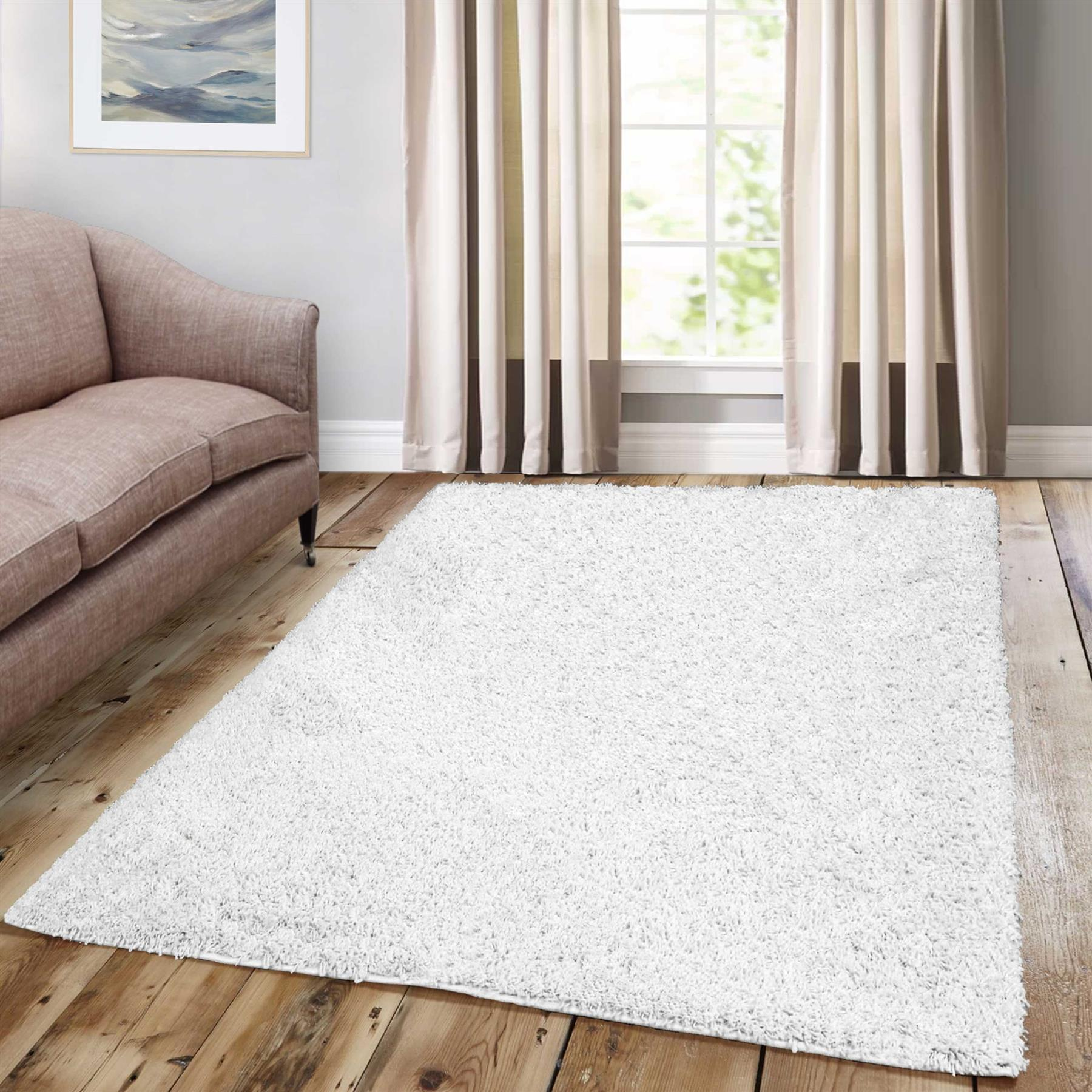Details About Plain White Thick Luxury Soft Shag Rugs Fluffy Modern Dining Room Area Carpets