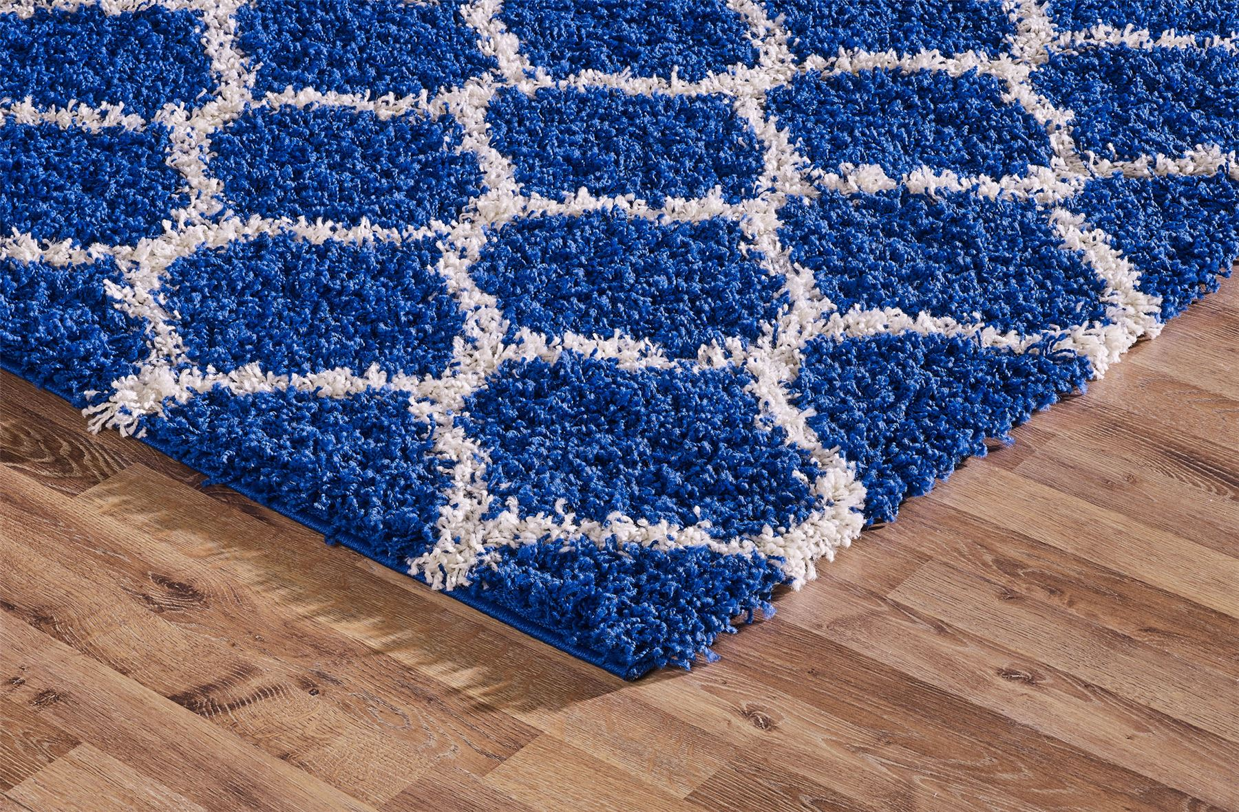 Modern royal blue trellis shaggy carpet contemporary for Thick area rugs sale