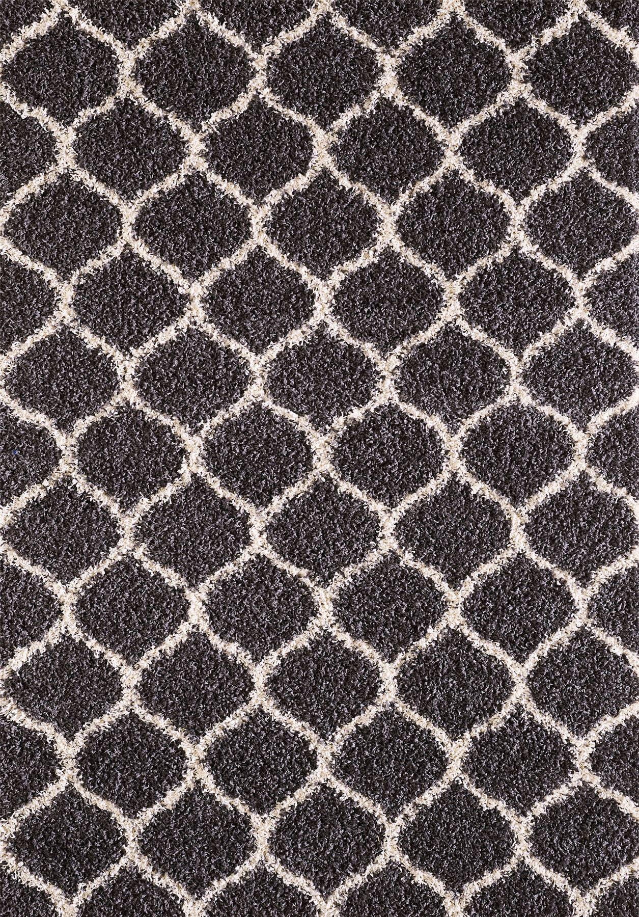Large Modern Dark Grey Trellis Shaggy Carpet Contemporary Soft Area ... for Modern Black Carpet Texture  557yll