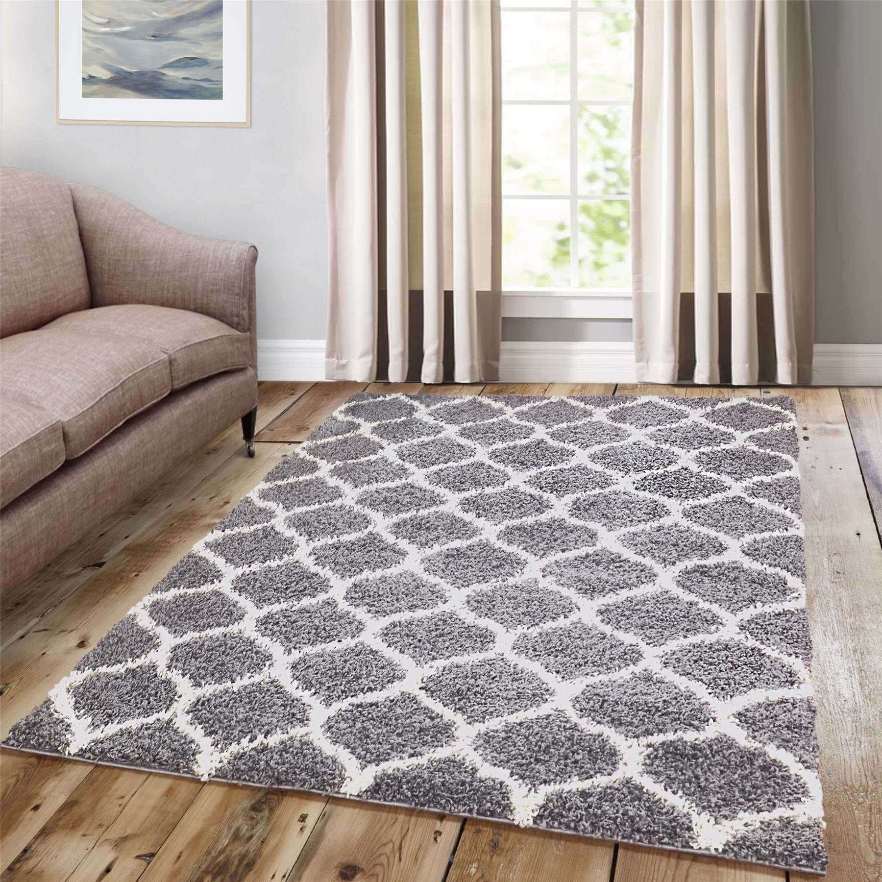 Dense-Pile-Trellis-Bedroom-Carpets-Thick-Shaggy-Rugs-Modern-Coloured-Pattern-Mat thumbnail 23