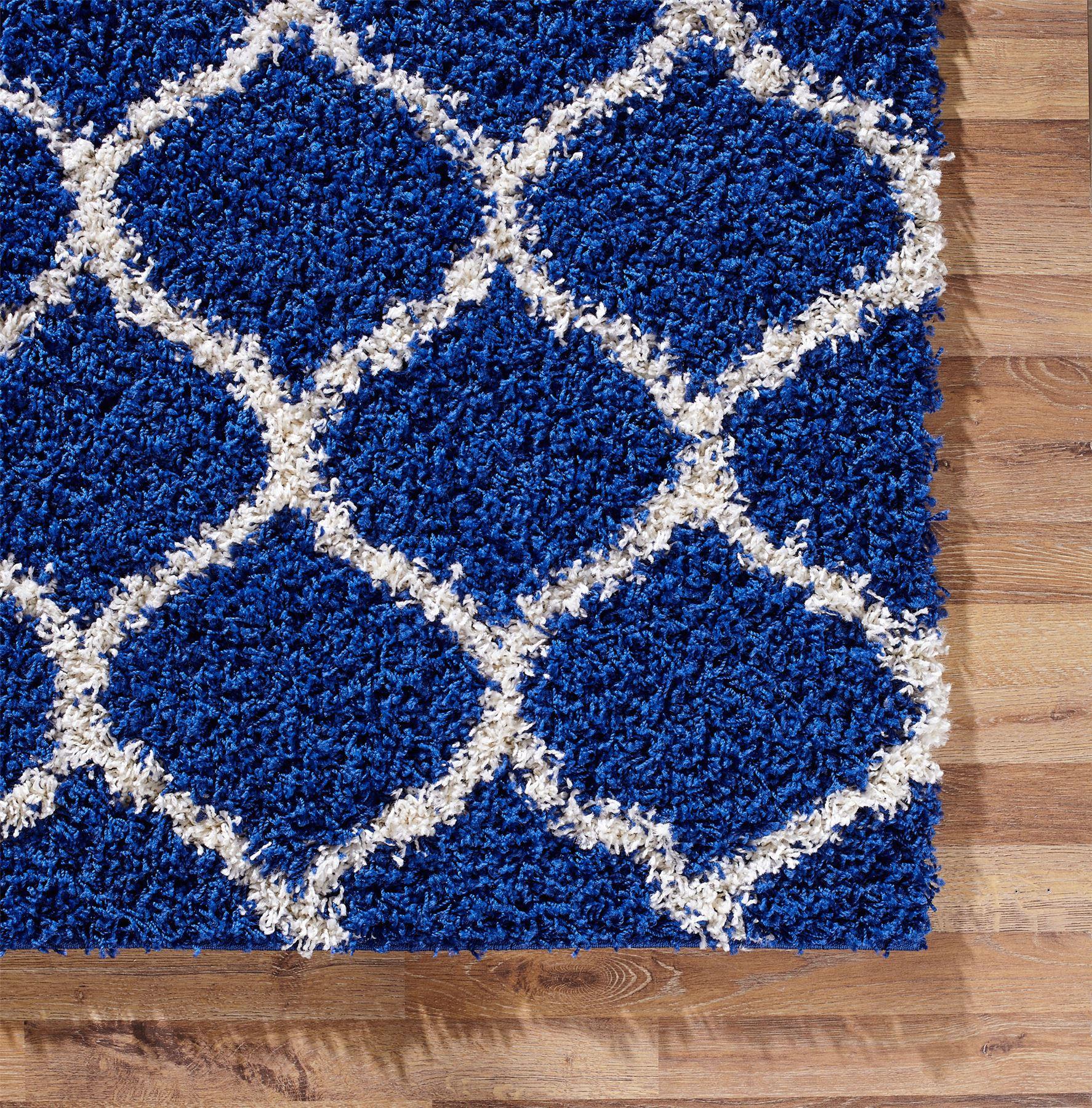 Modern Royal Blue Trellis Shaggy Carpet Contemporary