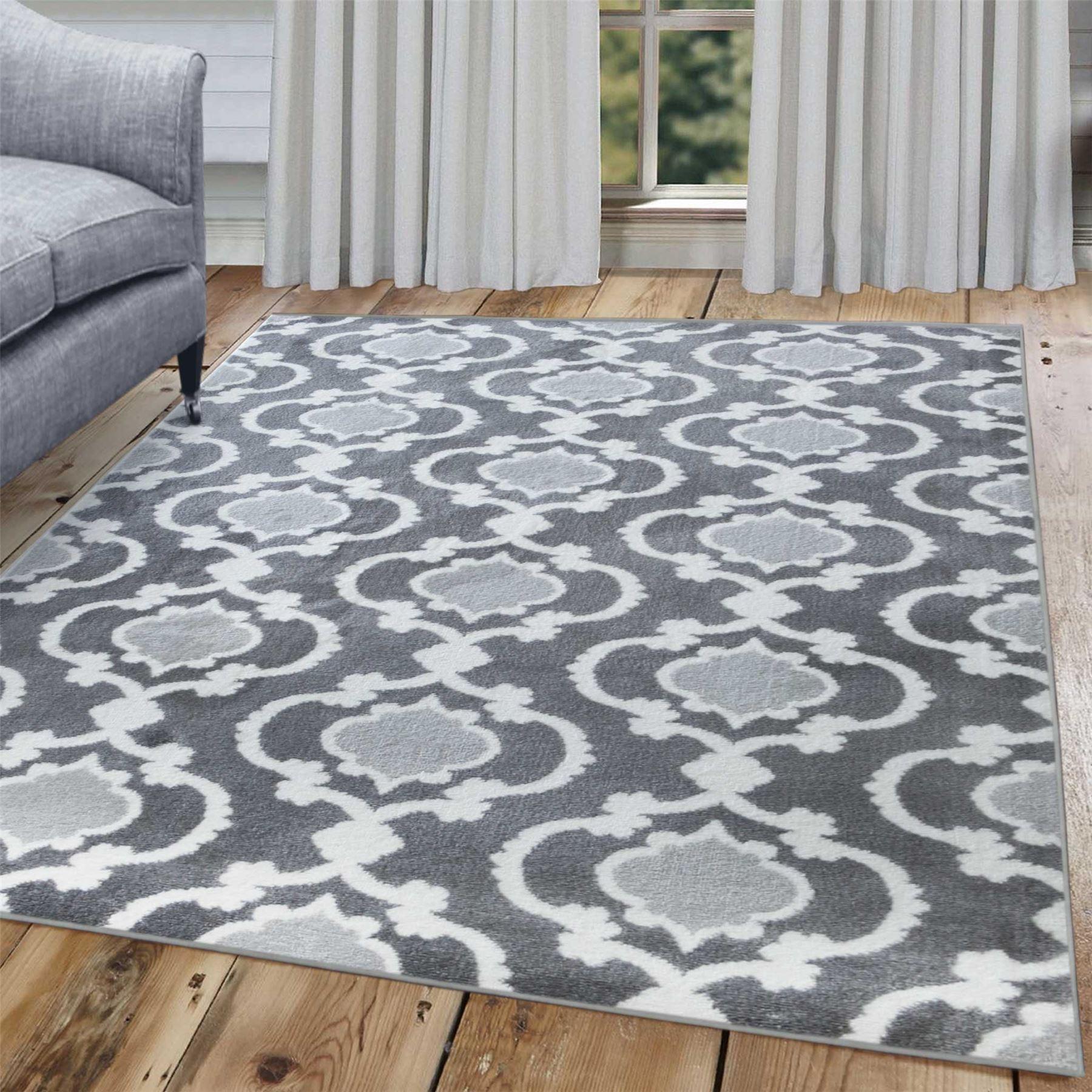 A2Z-grigio-grande-mix-di-moderni-tappeti-corridori-bianchi-a-contrasto-Traliccio-Design-Tappeti miniatura 4
