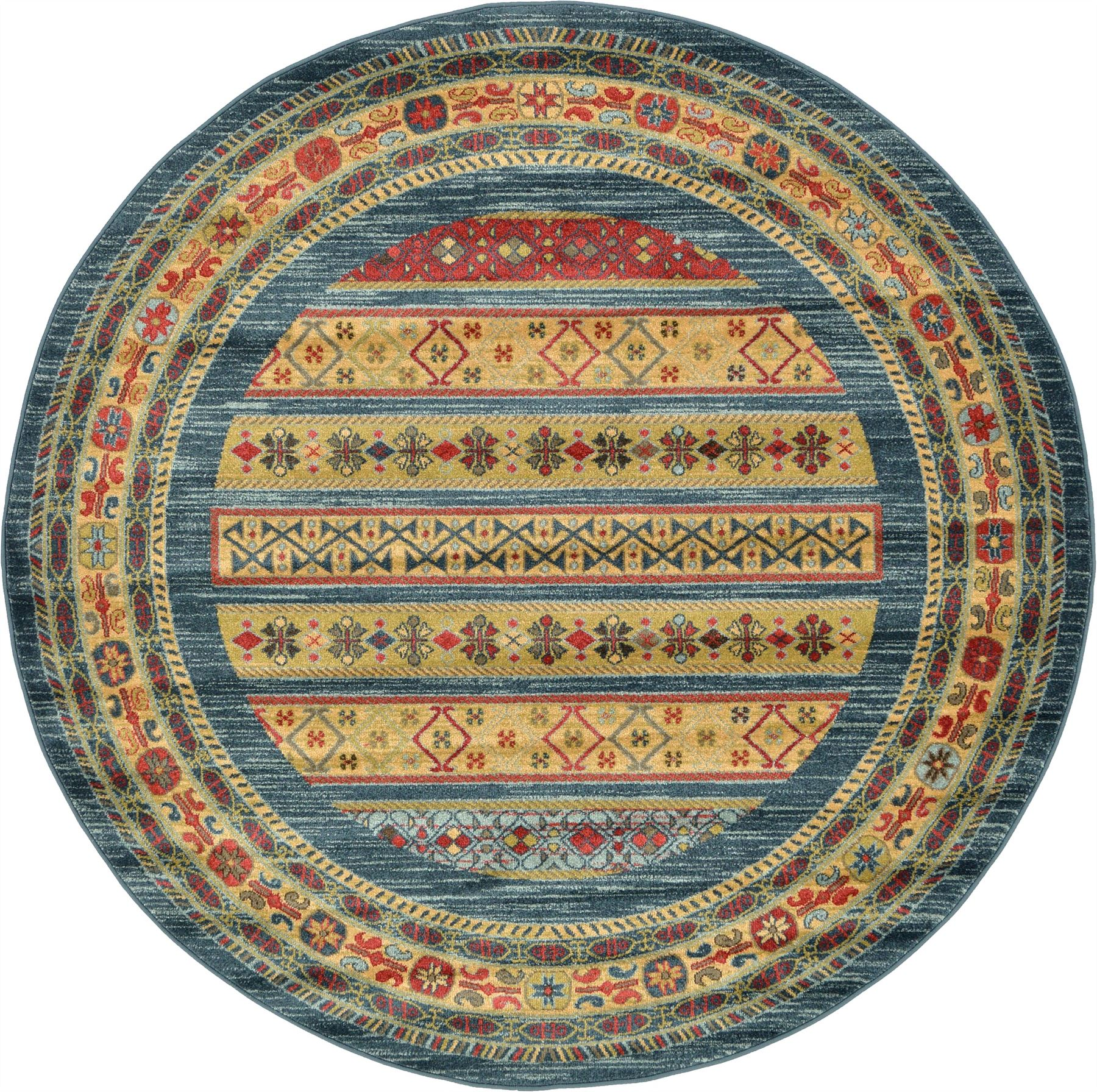 Rug Runners Contemporary: Oriental Modern Area Rug Soft Round Carpet Tribal