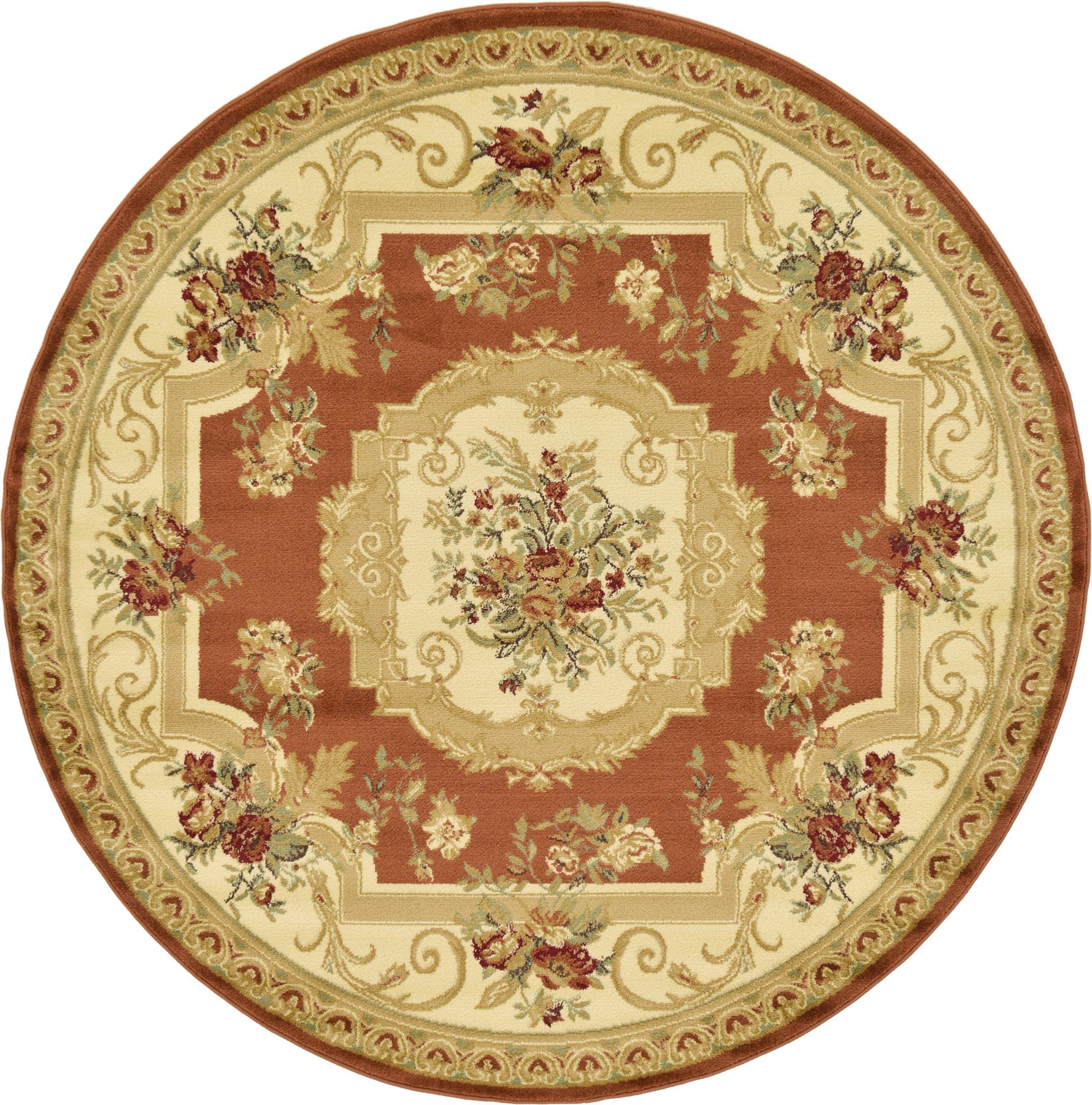 Oriental-Large-Area-Rug-Square-Traditional-Country-Round-Carpet-Medallion-Small thumbnail 10