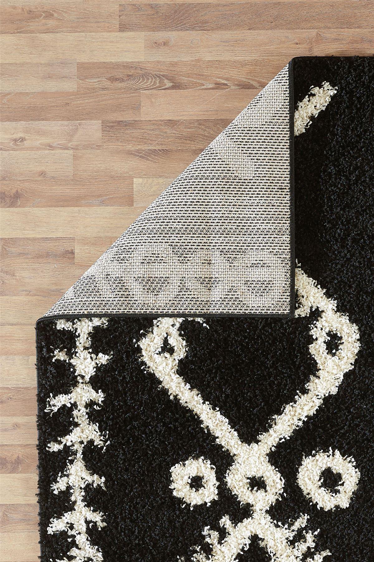 Moroccan-Shaggy-Area-Rug-Grey-White-Black-Soft-Carpet-Traditional-Berber-Designs thumbnail 8