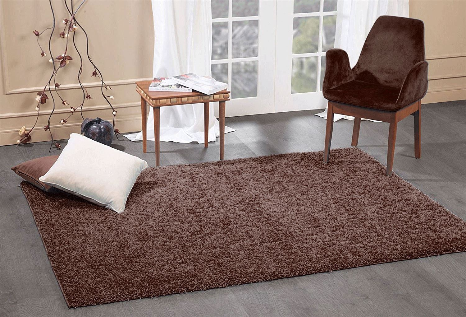 Details About A2z Brown Fluffy Shaggy Rugs Shabby Chic Living Room Floor Area Carpet 5cm Thick