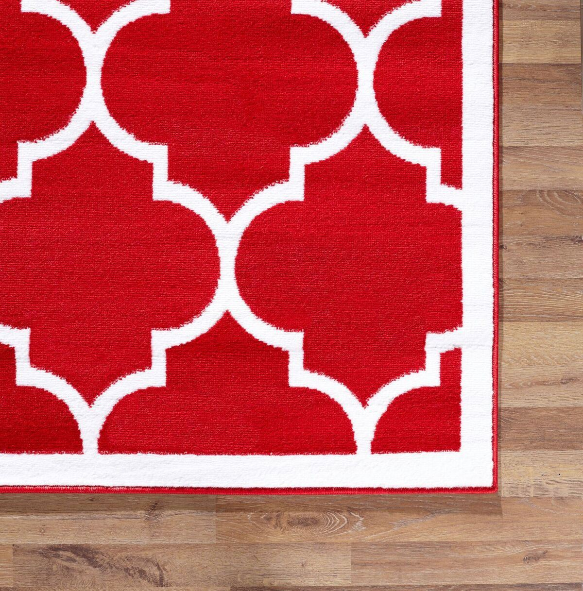 Large modern geometric moroccan trellis thin carpet red for Red area rugs contemporary
