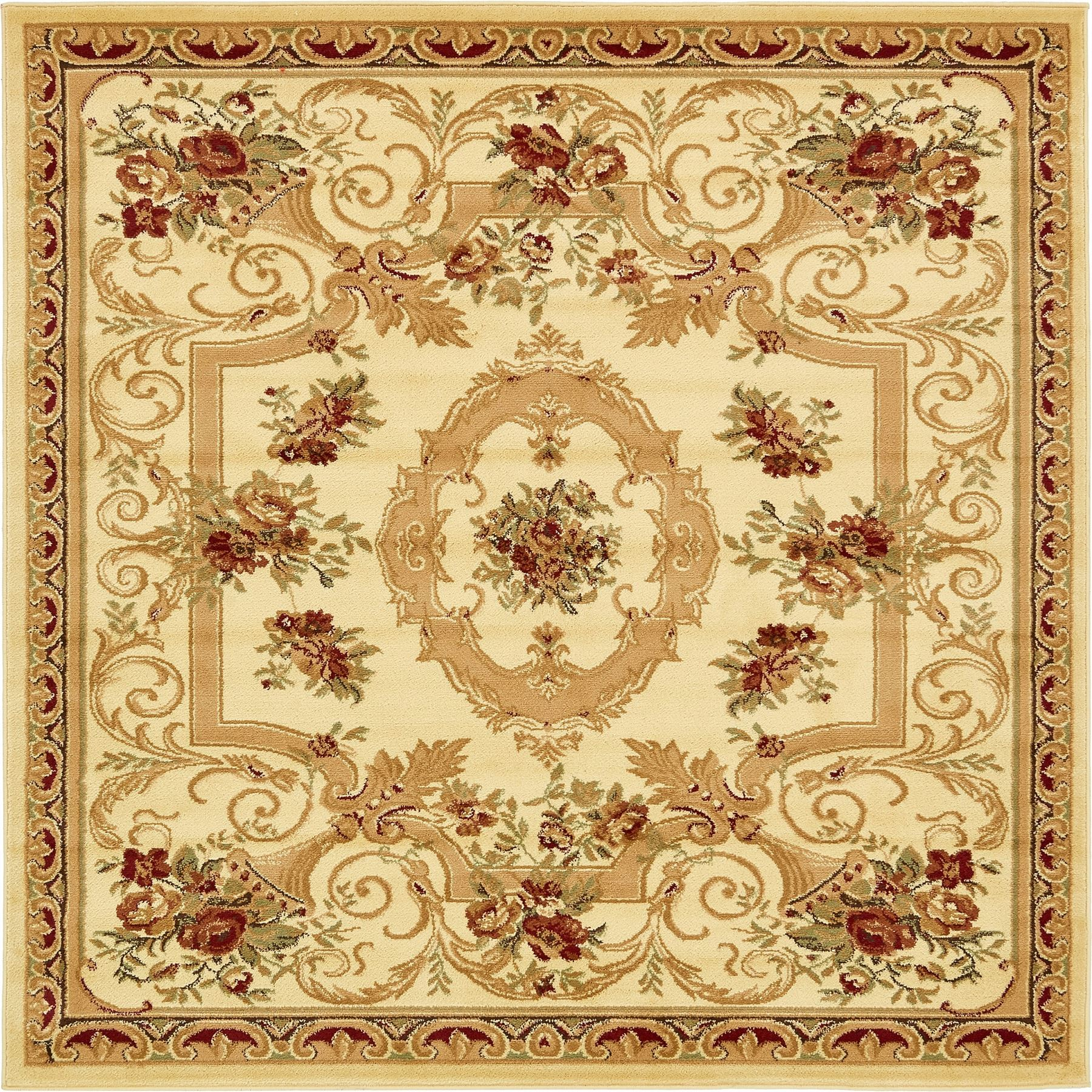 Oriental-Large-Area-Rug-Square-Traditional-Country-Round-Carpet-Medallion-Small thumbnail 24