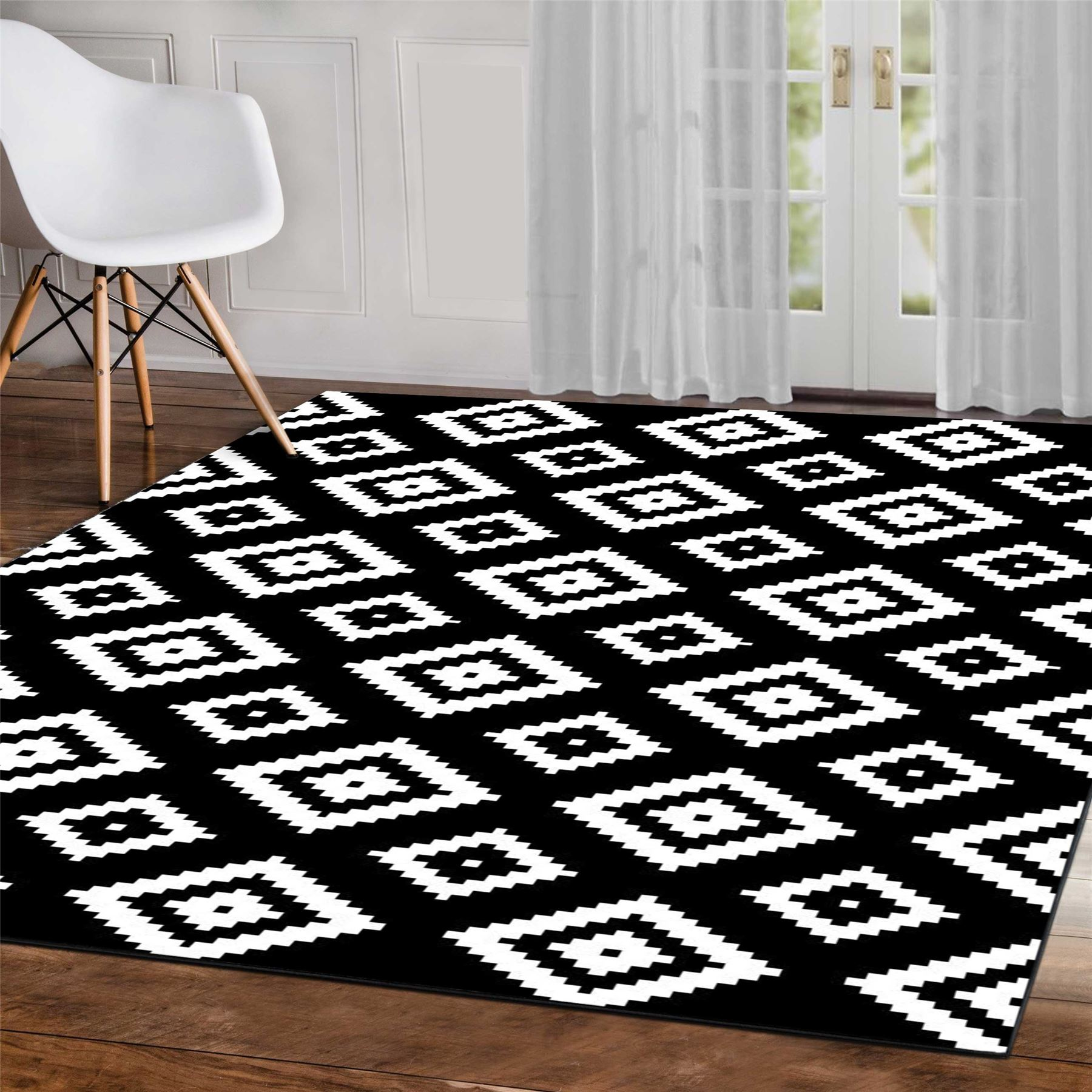 Details About Grey Black White Geometric Modern Bedroom Rugs Aztec Diamond Pattern Area Carpet
