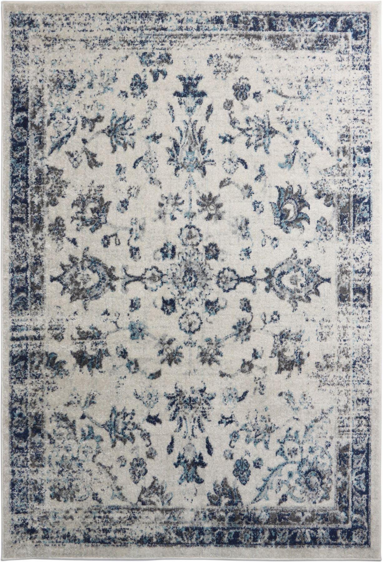 A2Z-Grande-Crema-Avorio-Blu-TRADIZIONALE-DESIGN-VINTAGE-tappeti-persiani-TAPPETI-CAMERA miniatura 3