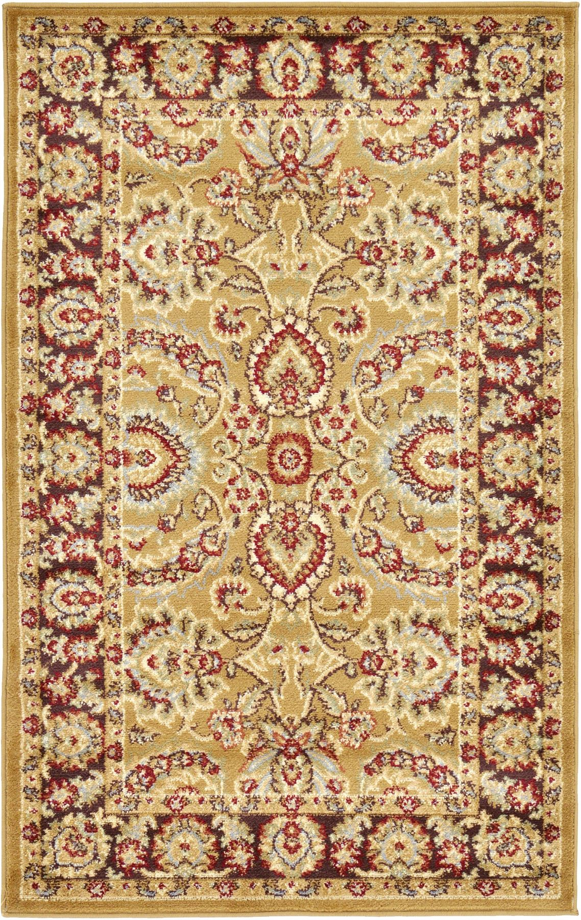 Traditional area rug floral persian desigh large red cream for Red floral area rug