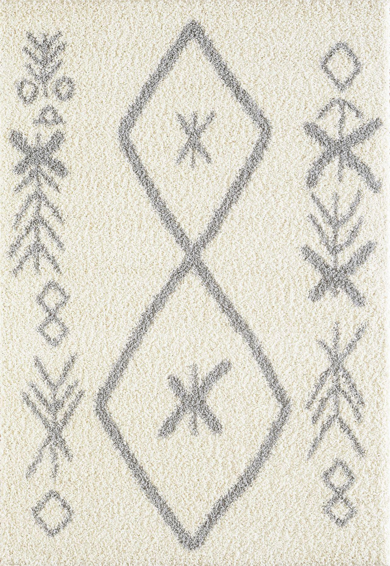 Tappeto-A2Z-Nero-Grigio-Avorio-tradizionale-marocchina-Shaggy-Berber-Boho-Tribal-3cm-Pile miniatura 45