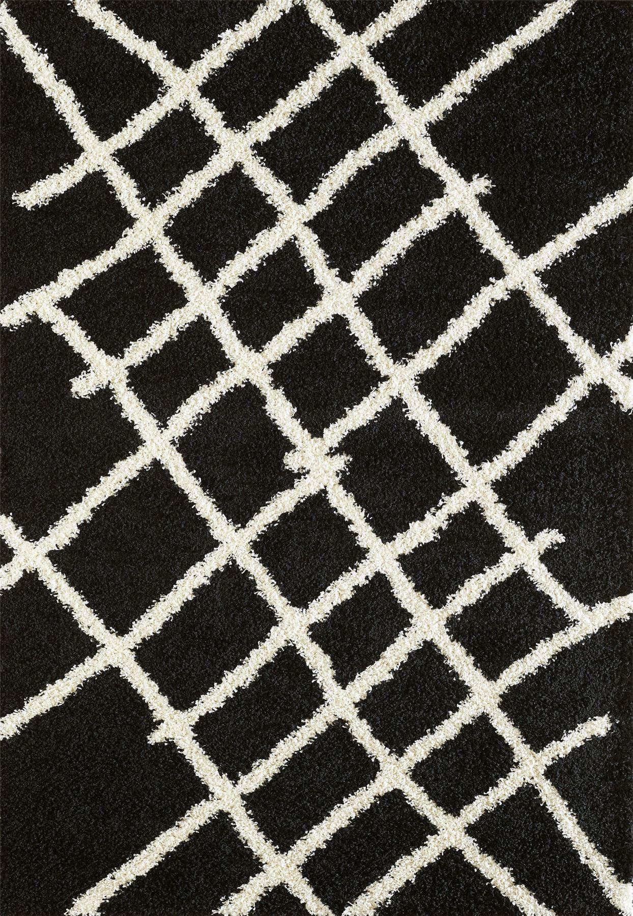 Tappeto-A2Z-Nero-Grigio-Avorio-tradizionale-marocchina-Shaggy-Berber-Boho-Tribal-3cm-Pile miniatura 38