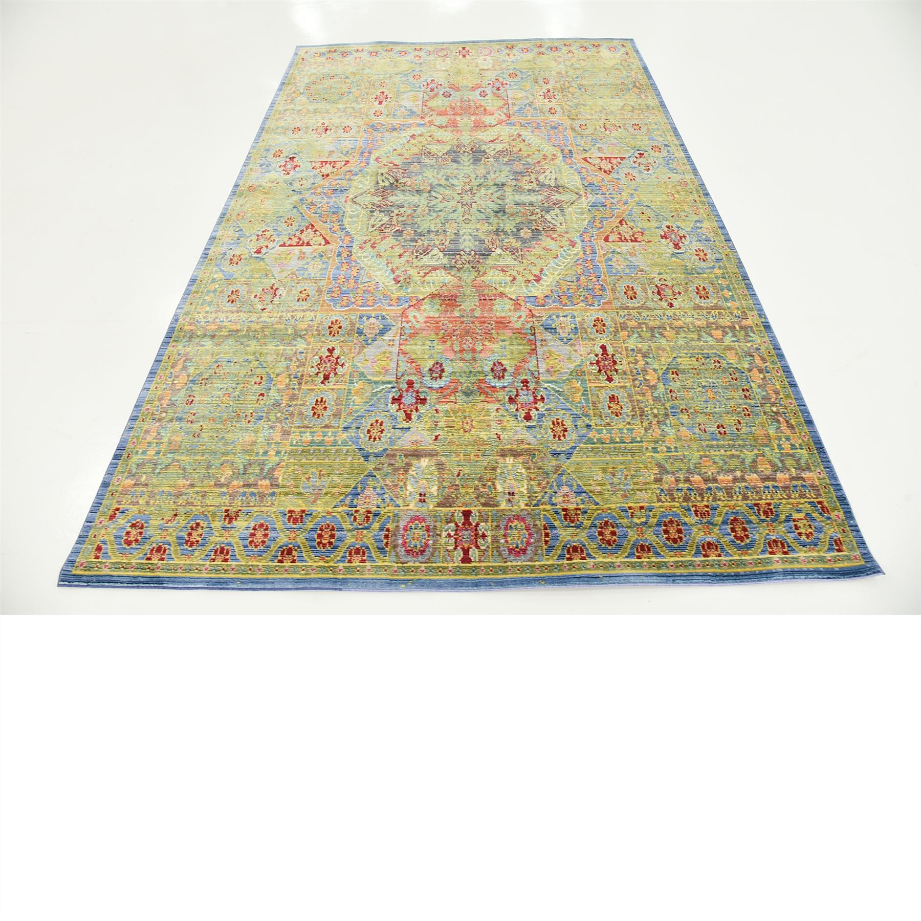 Floral Green Medallion Traditional Style Soft Popular Area