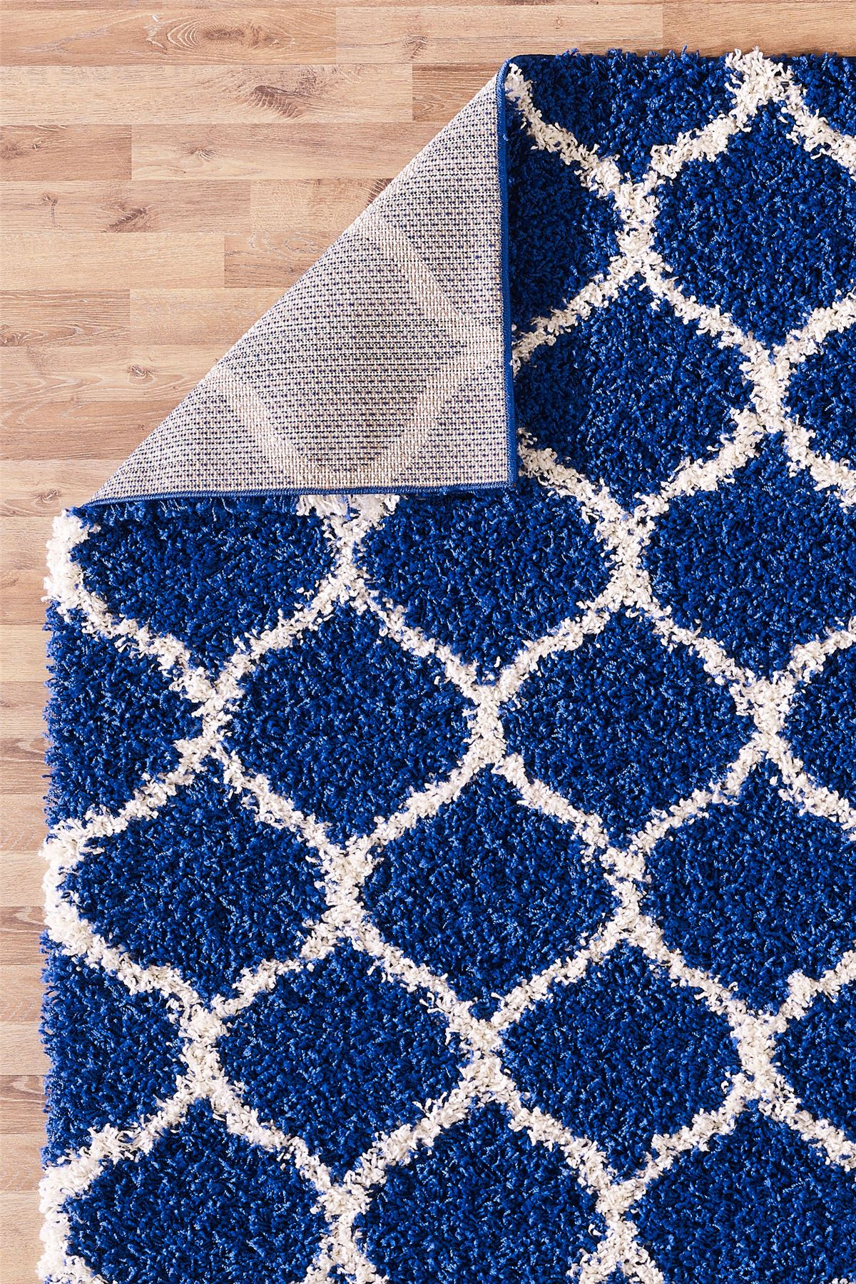 Modern Royal Blue Trellis Shaggy Carpet Contemporary Moroccan