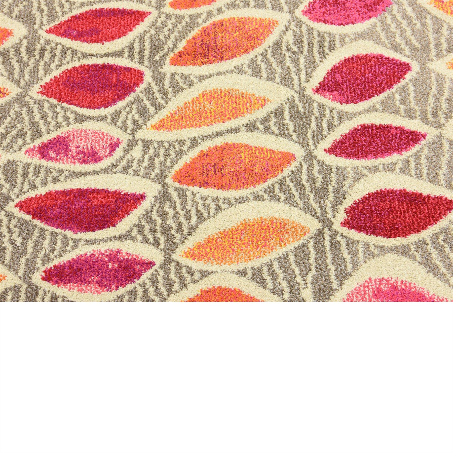 Modern Pink Area Rug Contemporary Orange Carpet Soft Large Round