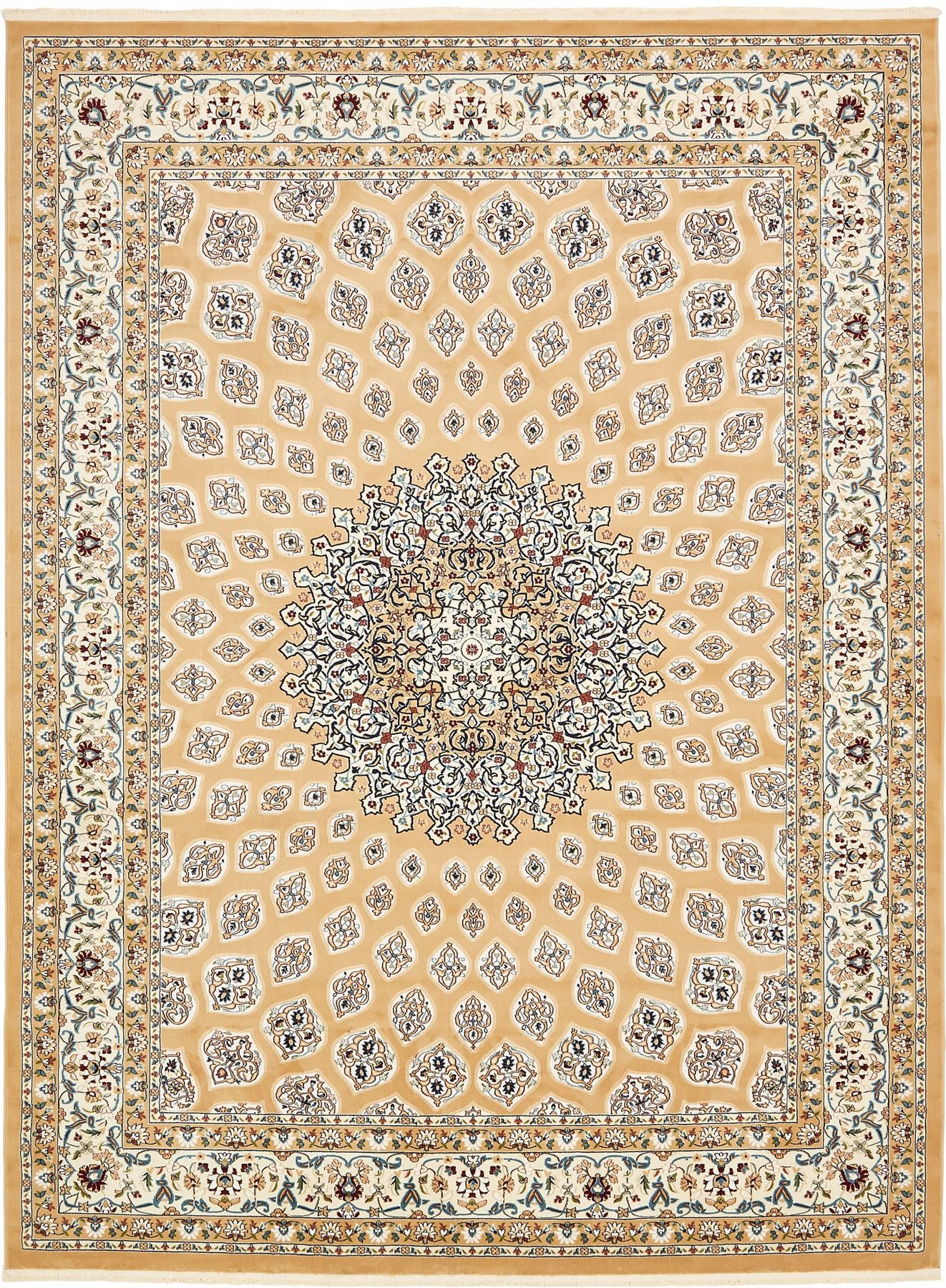 Traditional Persian Design Area Rug Nain Style Oriental