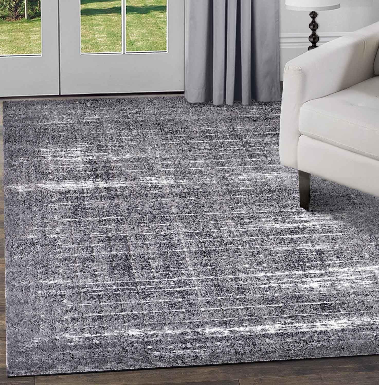 Nero-Grigio-beige-avorio-moderno-tappeti-VINTAGE-ASTRATTO-OMBRA-Lounge-Pavimento-Tappeti miniatura 34