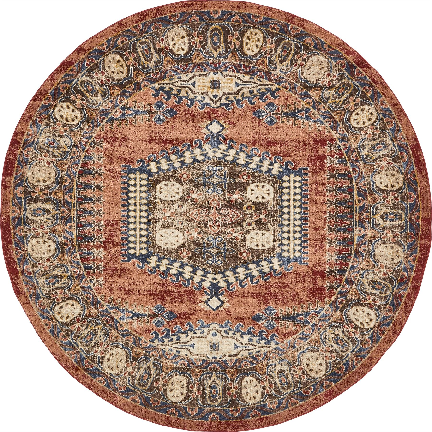 Vintage Looking Area Rugs: Traditional Large Faded Persian Design Area Rug Small