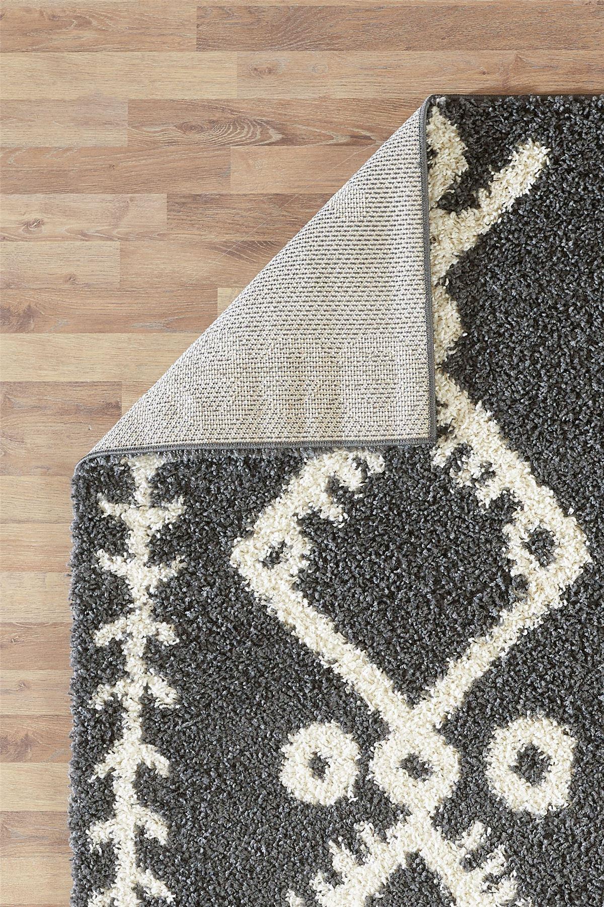 Moroccan-Shaggy-Area-Rug-Grey-White-Black-Soft-Carpet-Traditional-Berber-Designs thumbnail 14