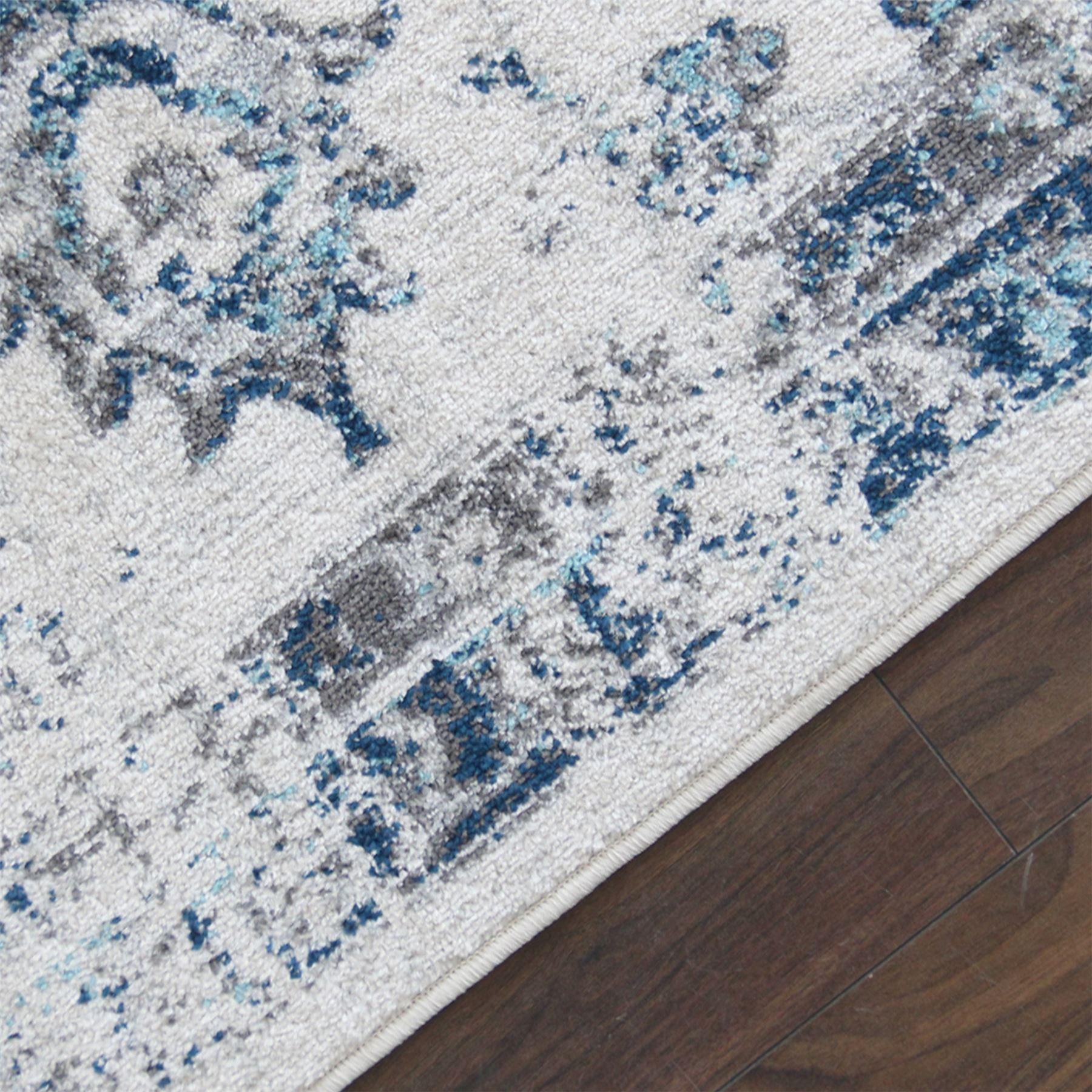 A2Z-Grande-Crema-Avorio-Blu-TRADIZIONALE-DESIGN-VINTAGE-tappeti-persiani-TAPPETI-CAMERA miniatura 5
