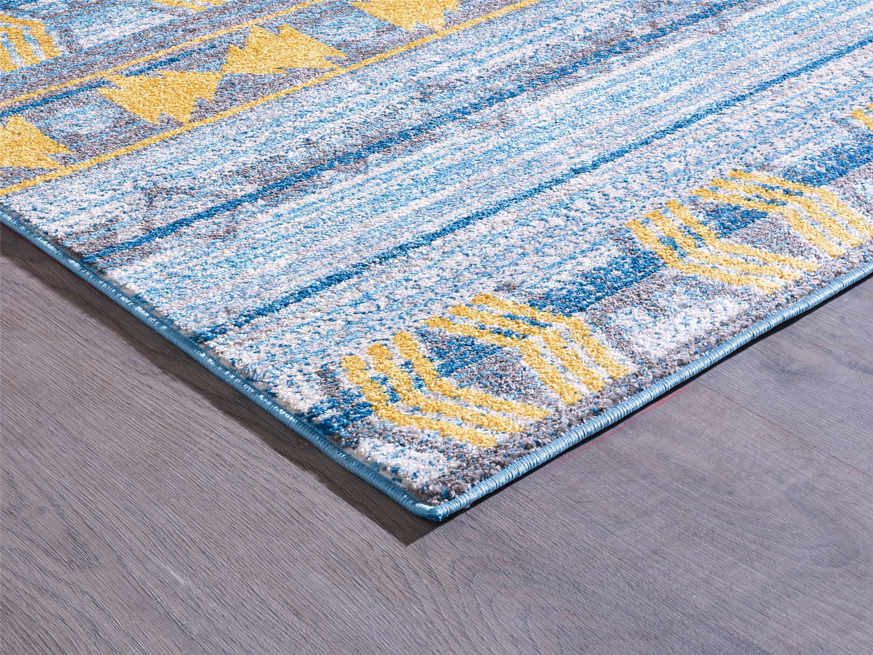 A2z rug sevilla large modern blue yellow tribal geometric bedroom home carpets ebay - Tappeti camera da letto amazon ...